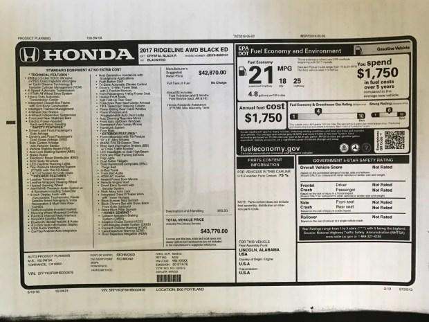 2017 Honda Ridgeline Black Edition Window Sticker