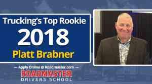 Roadmaster Graduate Platt Brabner named Trucking's Top Rookie of 2018