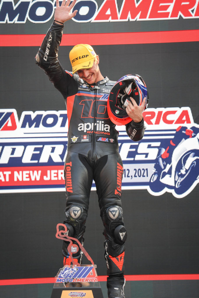 Tommaso Marcon won MotoAmerica Twins Cup Race Two at NJMP. Photo by Sara Chappell Photos, courtesy Robem Engineering.