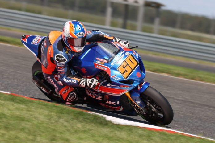 Bobby Fong (50) raced hard and claimed fourth place on his Suzuki GSX-R1000R on Saturday. Photo by Brian J. Nelson, courtesy Suzuki Motor USA, LLC.