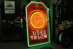 Porcelain neon OK used truck sign, OLD SIGNS, Old Unique Advertising Signs , Vintage advertising signs