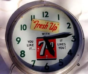 7- Up Neon Clock, Vintage Advertising Neon Clocks