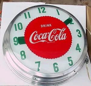 Coca Cola Light Up Cock, Vintage Advertising Neon Clocks