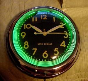 Diner neon clock, Vintage Advertising Neon Clocks