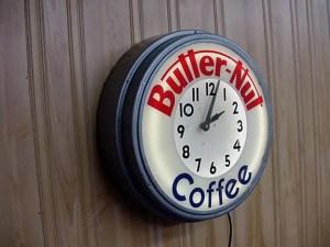 Butternut Coffee Neon Clock, Vintage Advertising Neon Clocks