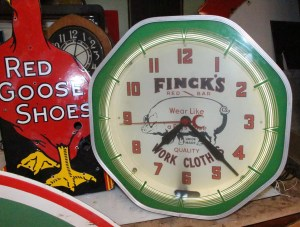 neon clock for Finks work clothes, Vintage Advertising Neon Clocks