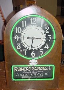 Cathedral Neon Clock, Vintage Advertising Neon Clocks