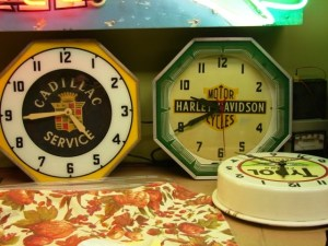 Harley Davidson, neon clock, motorcycle, Vintage Advertising Neon Clocks