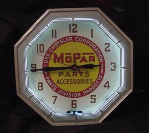 Mopar neon clock, Vintage Advertising Neon Clocks