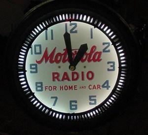 neon clock for Motorola OLD, Vintage Advertising Neon Clocks