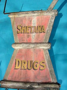 Vintage Advertising signs 1800's//2000's...Trade Sign, Smetna Drugs Mortar & Pestal...
