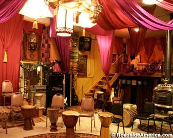The drum circle room, after a reality show makeover.