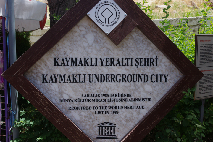 Kaymakli underground city - Cappadocia - Turkey-UNESCO- entrance sign