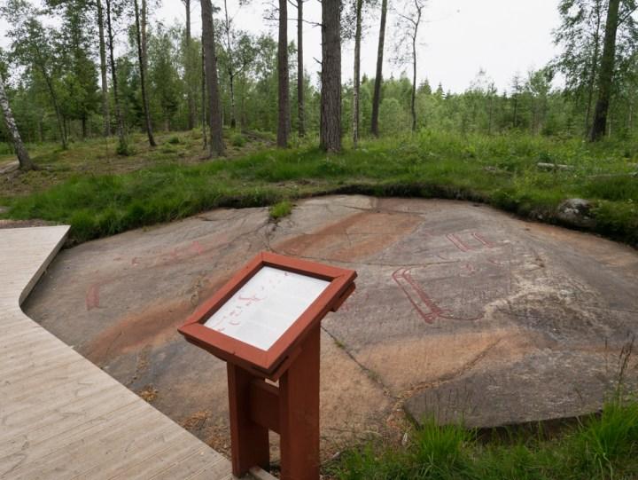 Tanum rock carvings - Sweden - Vitlyckehällen presentation of rock