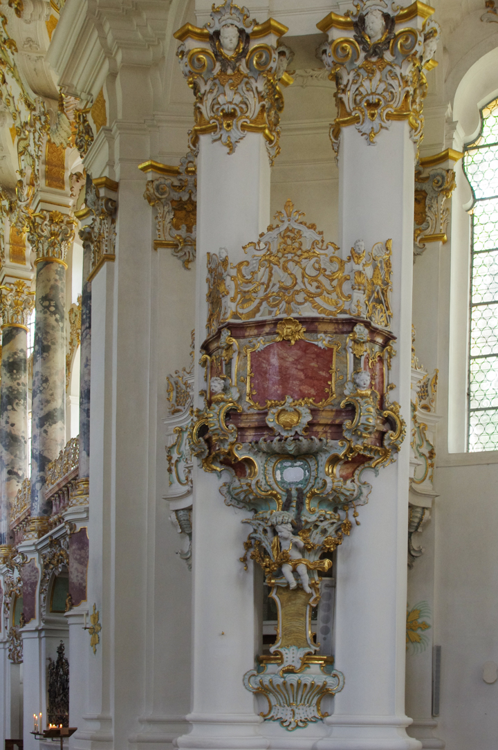 Wies Church - Wieskirche - Germany - side of the choir opposite pulpit