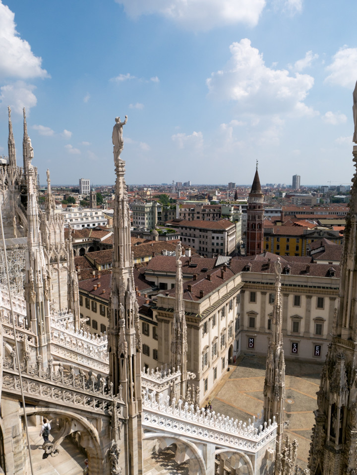The view from the promenade on the roof of the Duomo di Milano - Milan Cathedral - Italy