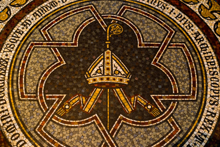 Detail of the 1,350 sqm floor mosaic from 1899 in the Cologne Cathedral in Germany