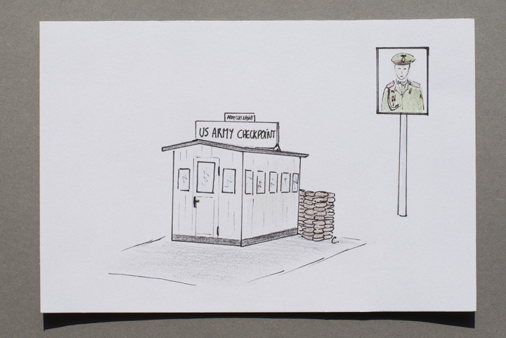 Drawing of Checkpoint Charlie in Berlin, Germany - postcard available on roadtripsaroundtheworld.com