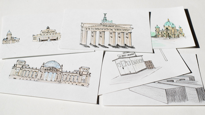 Hand drawn Postcards of the most famous sites in Berlin, Germany - available on roadtripsaroundtheworld.com