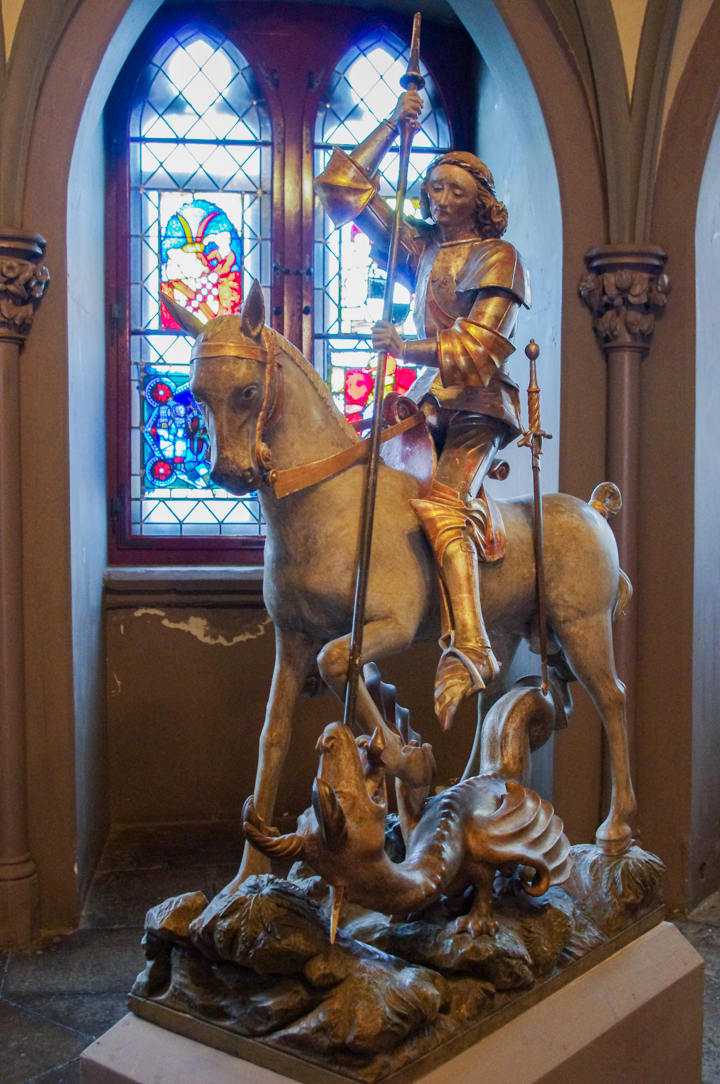 Saint Michael, the dragon slayer in the Hohenzollern Castle in Germany - Check out roadtripsaroundtheworld.com to find out more