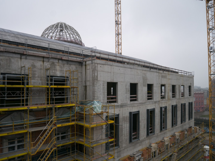 The city Palace construction site including the dome - Berlin Germany - Feb 2016