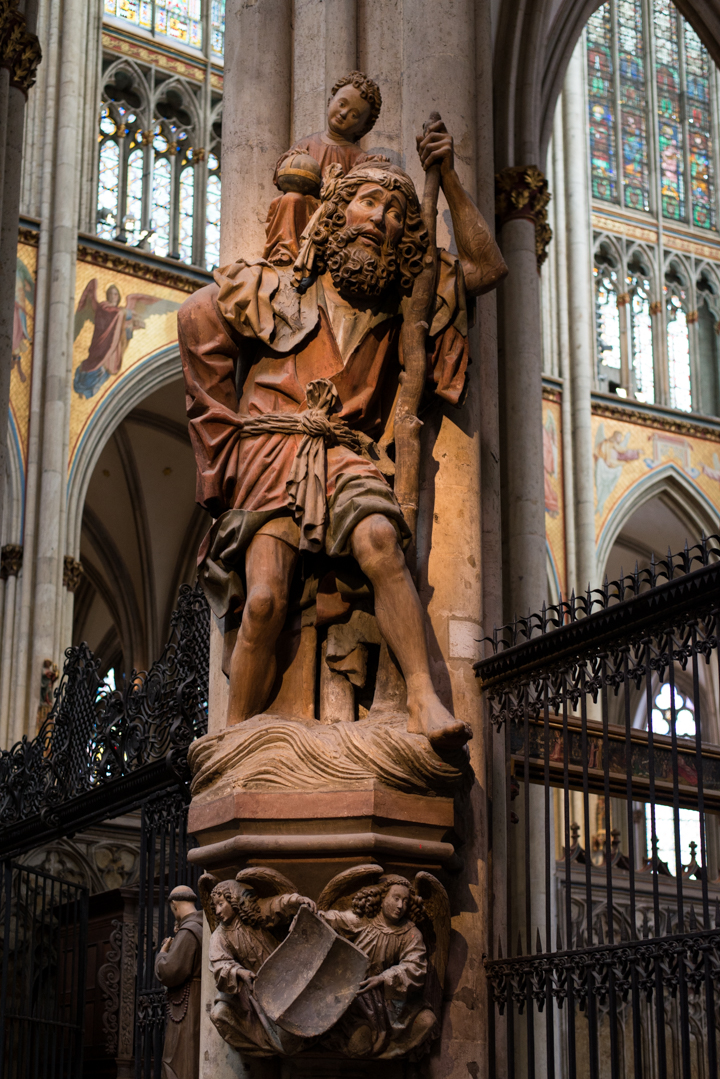 The medieval statue of Saint Christopher, Patron of Travellers in the Cologne Cathedral - Germany