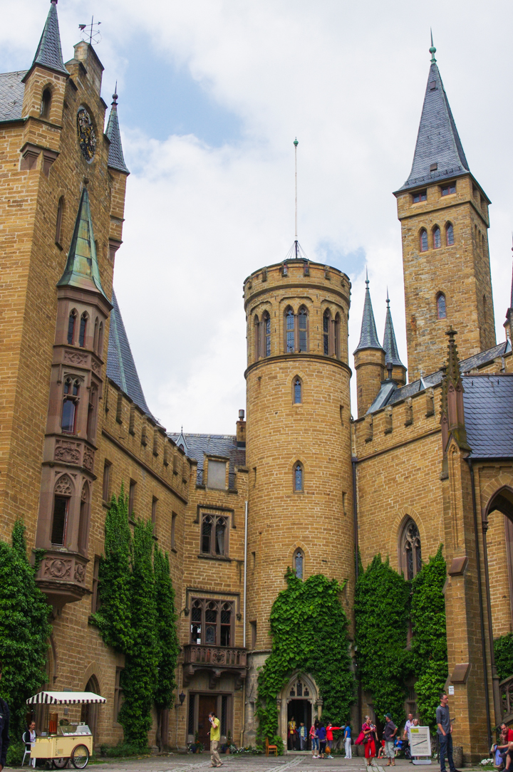 View of the Hohenzollern Castle Courtyard, Germany - Check out roadtripsaroundtheworld.com to find out more