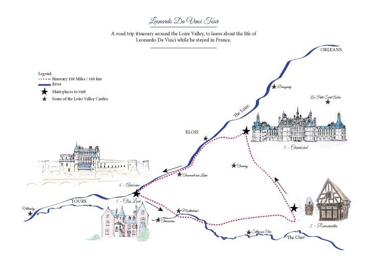 Road trip map - Leonardo Da Vinci tour around the Loire Valley, France - Learn more on roadtripsaroundtheworld.com