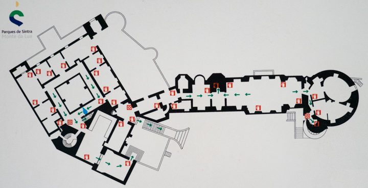 Floor plan of the Pena Palace - Sintra, Portugal - Learn more on roadtripsaroundtheworld.com