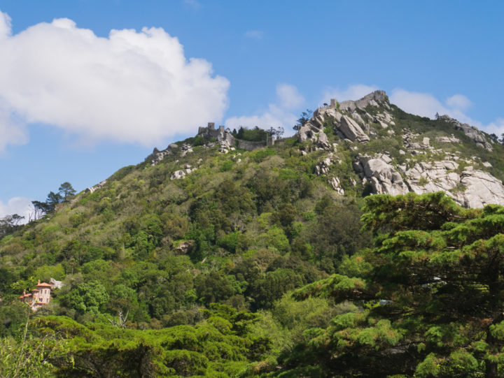 View of the castle of the Moors from the Quinta da Regaleira Palace - Portugal - Learn more on RoadTripsaroundtheWorld.com