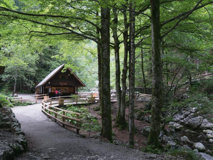 The entrance to the Savica waterfall near lake Bohinj, Slovenia - learn more on RoadTripsaroundtheWorld.com