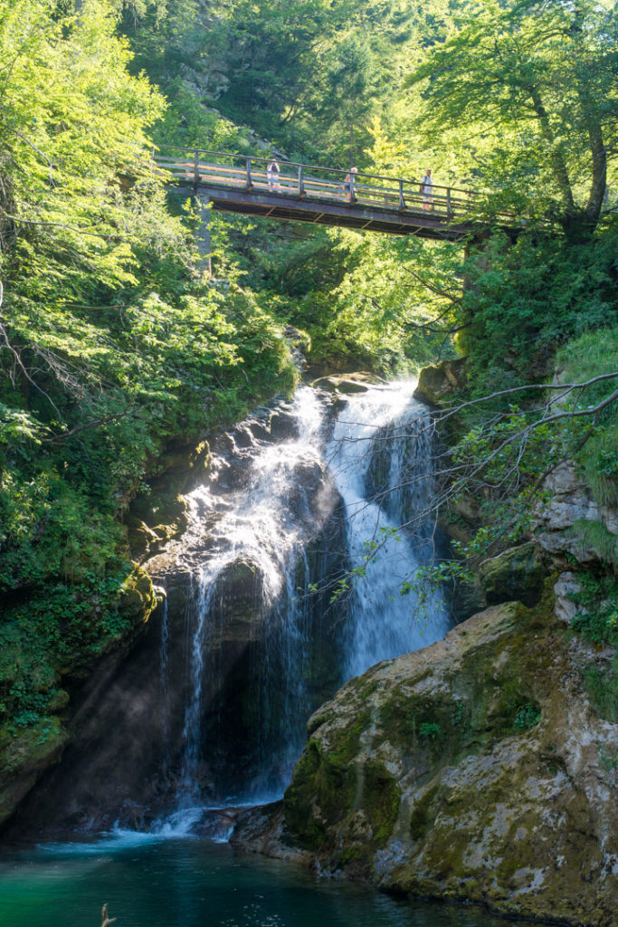 The Sum Waterfall in the Vintgar Gorge in Slovenia - Learn more on www.RoadTripsaroundtheWorld.com