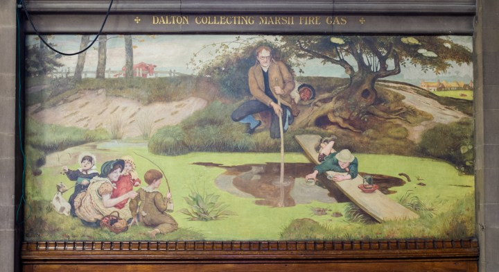 dalton-collecting-marsh-fire-gas-by-ford-madox-brown-manchester-town-hall-uk-learn-more-on-www-roadtripsaroundtheworld-com
