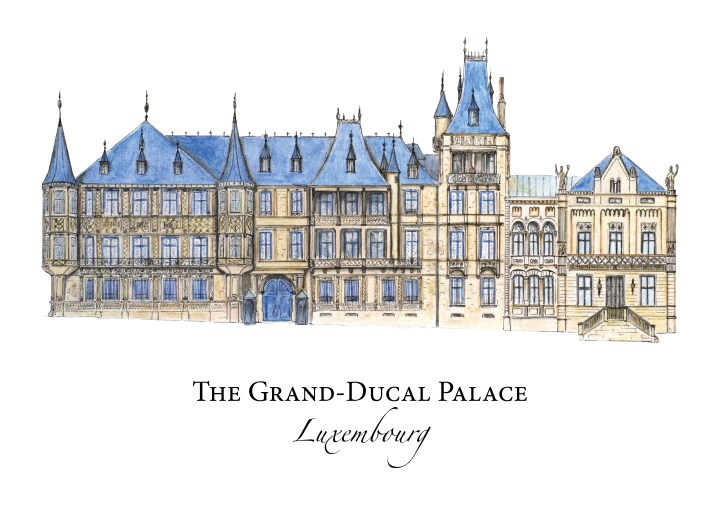 Palace Grand Ducal - Grand Ducal Palace - Luxembourg - Original drawing for www.RoadTripsaroundtheWorld.com