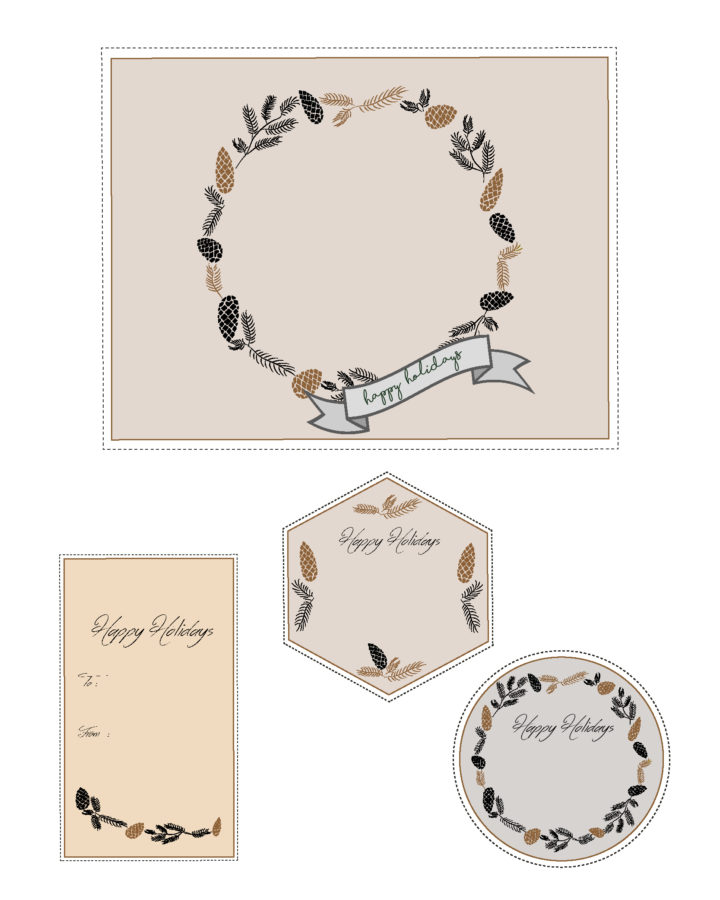 Happy Holidays - Free printable gift tags - designed by Miss Coco