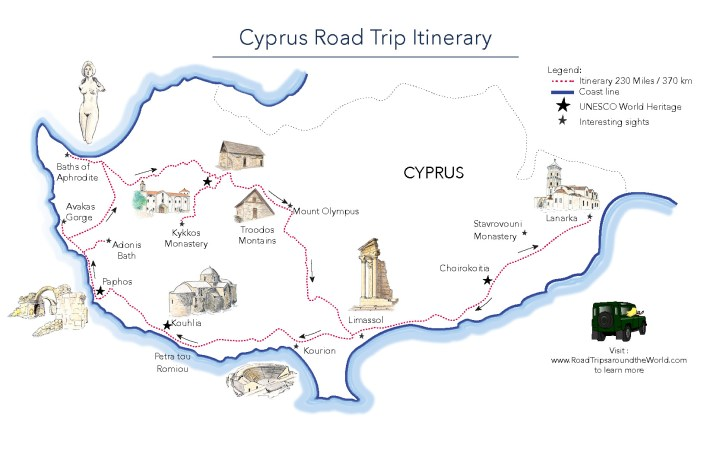 Discover Cyprus - a road trip itinerary created by Miss Coco for RoadTripsaroundtheWorld.com