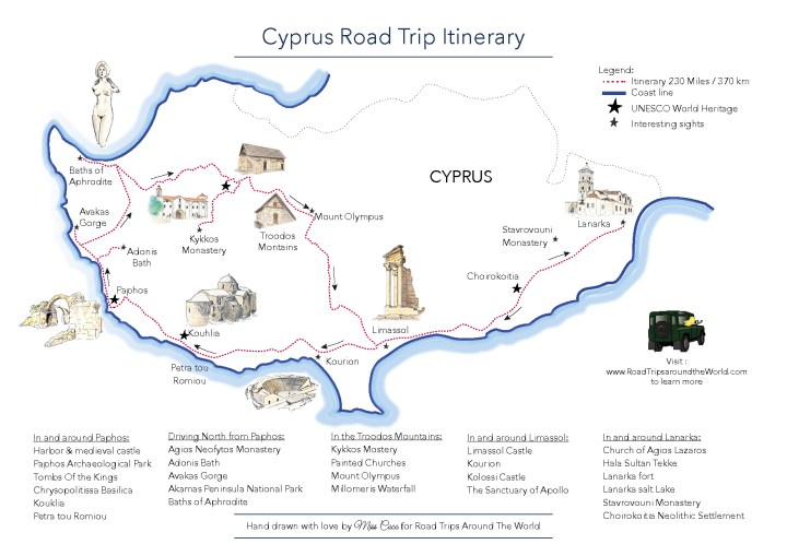 Road Trip in Cyprus - a free printable map available on www.RoadTripsaroundtheWorld.com