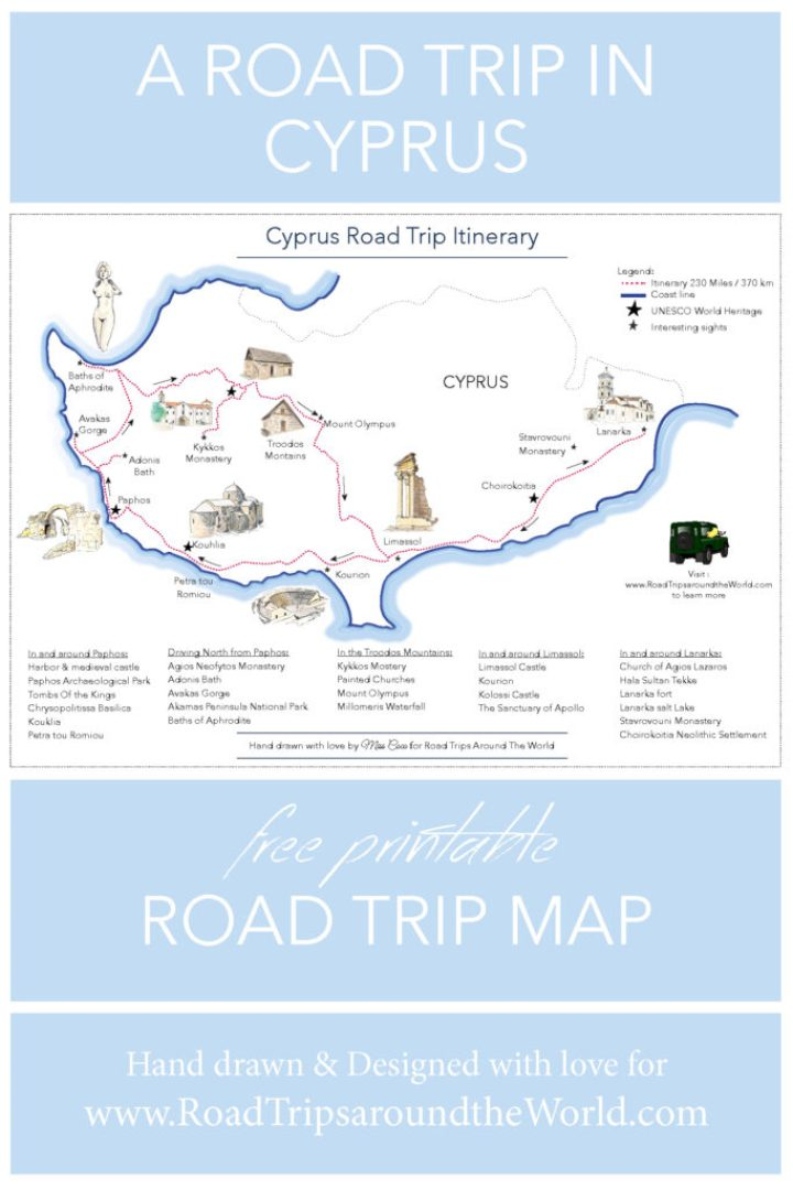 Free printable Road Trip map - Road Trip in Cyprus - Learn more on www.RoadTripsaroundtheWorld.com
