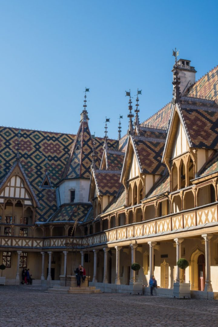The Courtyard tiled roof of the Hospices of Beaune, Burgundy - France - www.RoadTripsaroundtheWorld.com