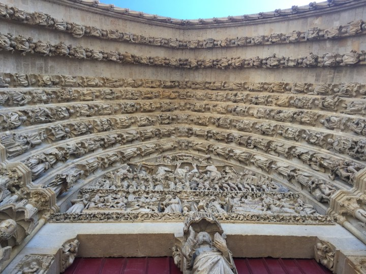 Tympanum of the last judgment portal - Amiens Cathedral, France - www.RoadTripsaroundtheWorld.com
