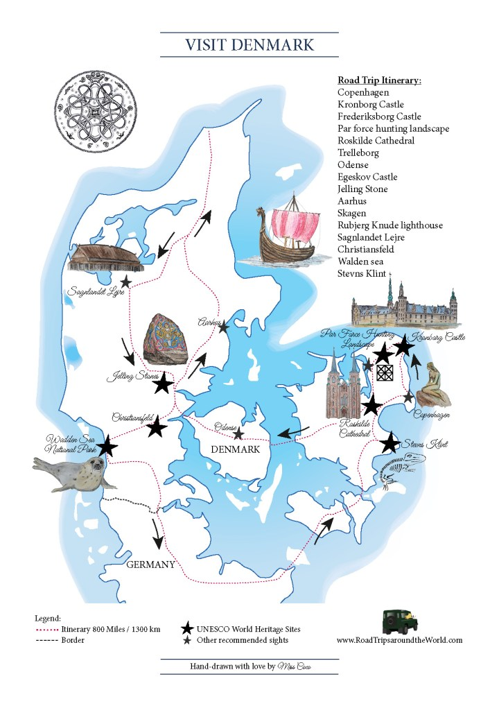 A Road Trip in Denmark: Free printable map available on RTatW Denmark On World Map on