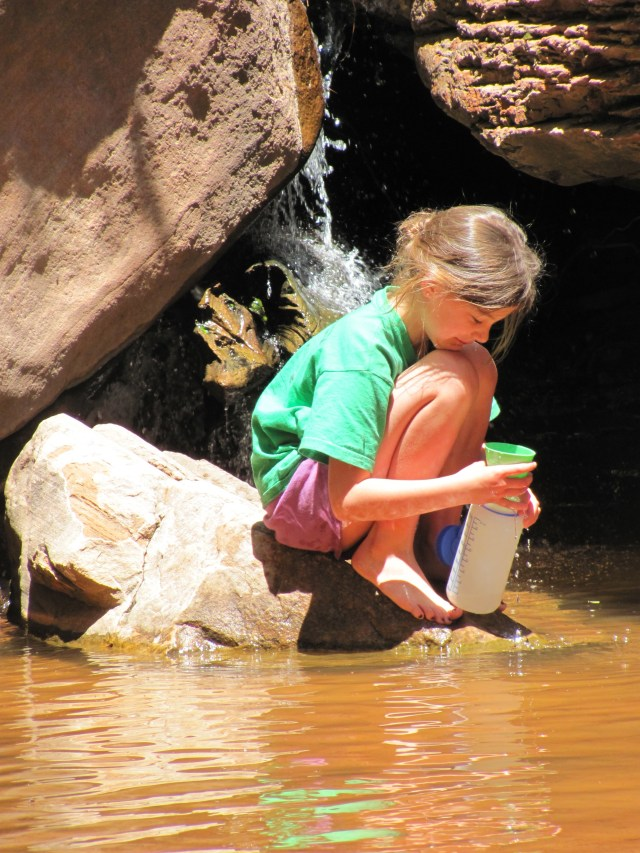 La Verkin Creek Trail in Kolob Canyon: Maya Pre-Filtering Our Water in Kolob Canyon