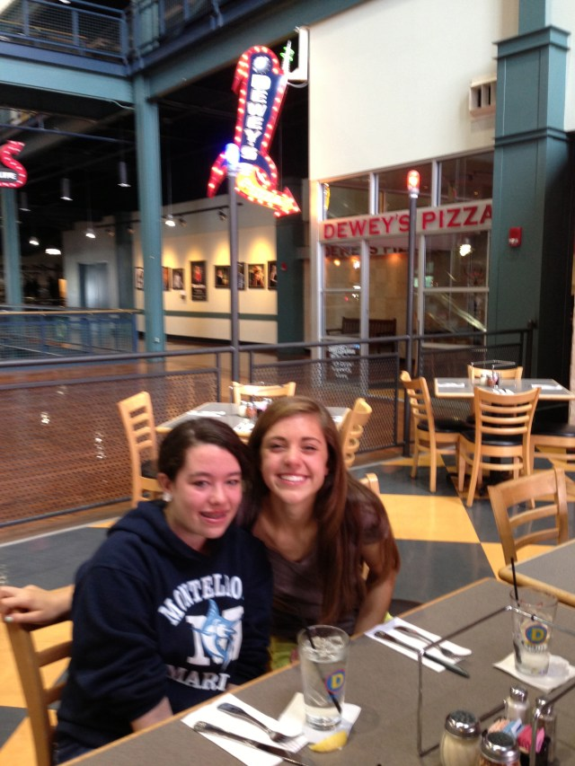 Kathryn and Naomi at Dewey's Pizza at Newport on the Levee