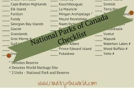 Canada National Parks Printable Checklist