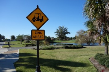 Watch out for golf carts!