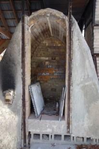 Inside the wood kiln