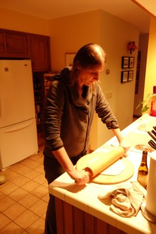 "Rolling the pizza dough - I""m not sure whether this is any faster than doing it by hand, like I did on the boat"