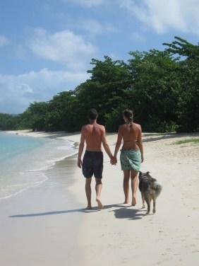 Along a beach with Darwin, in Grenada
