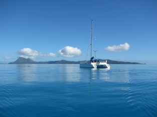 A flat anchorage in the Gambier Islands, French Polynesia