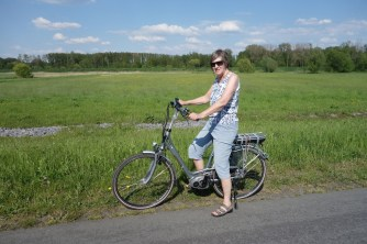 Mom with her comfy electric bike
